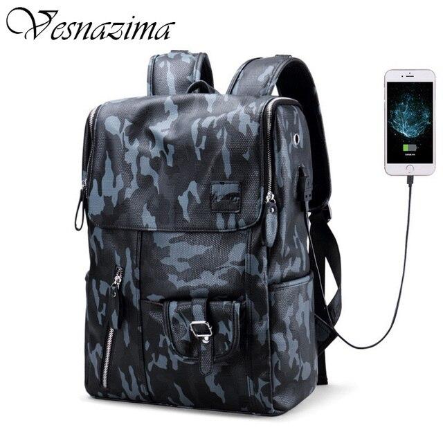 VZ leather backpacks man laptop bag back pack waterproof school bags boys  phone airphone bag mochila camouflage rucksack black 7e77cf1300907