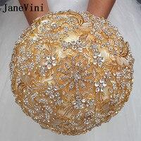 Janevini 2018 Роскошный Золотой Свадебные букеты для свадьбы Пользовательские Кристалл искусственные розы Букеты Свадебные Mariage Buque De Noiva