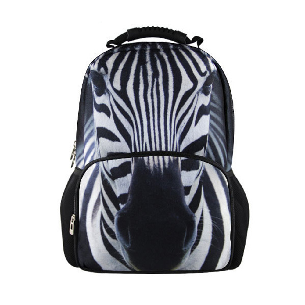 New fashion 3D zebra printing casual backpack bag graffiti sprayed pictures Hot student knife package for women men girl free image