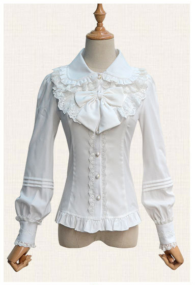 Summer Gorgeous White Long Lantern Sleeve Lace Lolita Blouse Shirts Spring Kawaii Sweet Blouse Shirts For Ladies