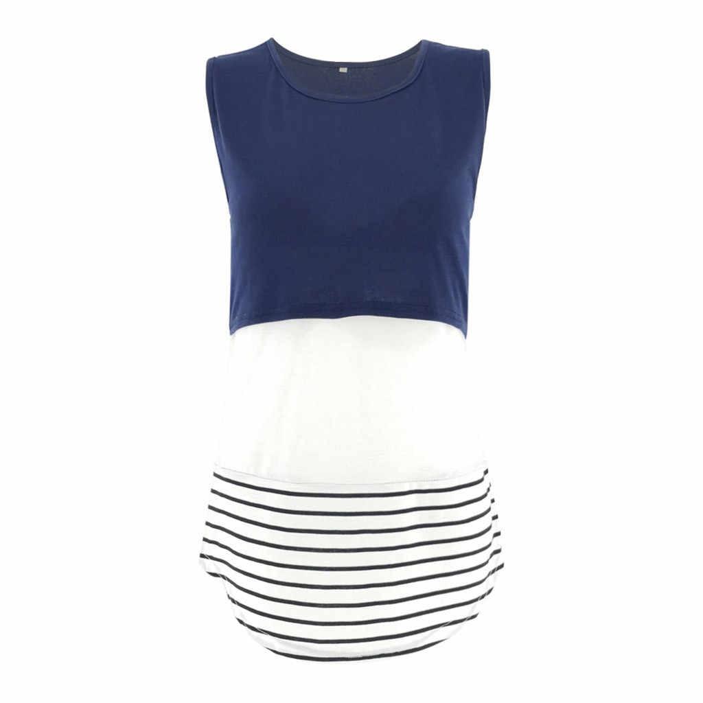 ผู้หญิงแฟชั่นการตั้งครรภ์ Tops เสื้อผ้าผู้หญิง Lace Splice ตั้งครรภ์พยาบาลเด็กสำหรับคลอดบุตรเสื้อกั๊กเสื้อ Tops