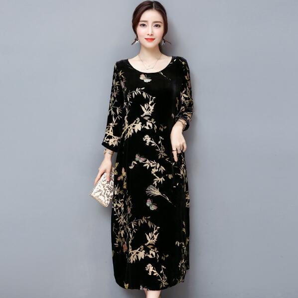 aeb20cc01ba3 Detail Feedback Questions about 2018 Vintage Floral Print Velvet Dress Long  Sleeve Elegant Women Autumn Winter Vestidos Midi Dress Plus Size AF160 on  ...