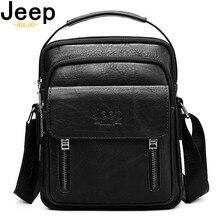 JEEP BULUO Big Brand Spilit Leather Shoulder Bag Men Messenger Bags Large Casual Double Zipper Design Male CrossBody Fashion