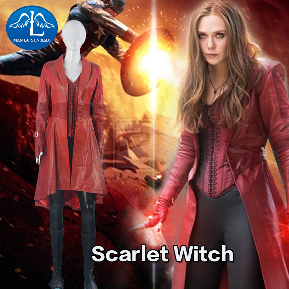 MANLUYUNXIAO Movie Captain America 3 Civil War Scarlet Witch Costume Halloween Costumes For Women Full Set Free Shipping