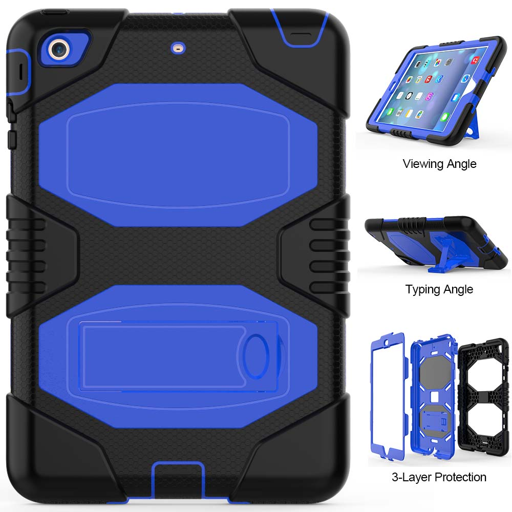 For Funda iPad Mini Cover Kid Heavy Duty Full body PC Rugged Hybrid Protective Shell Case for iPad Mini 1 2 3 with Stand for amazon 2017 new kindle fire hd 8 armor shockproof hybrid heavy duty protective stand cover case for kindle fire hd8 2017