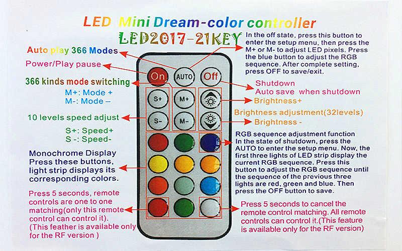 5 فولت 12 فولت WS2811 WS2812B SK6812 UCS1903 SM16703 السحر شريط ليد ملون ضوء كامل اللون أدى RGB IR وحدة تحكم في البكسل + 21Key عن بعد