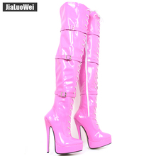 jialuowei Over Knee Thigh High boots 18cm/7 high Thin heels Boots women Sexy Fetish fashion Platform Lace-up Plus size