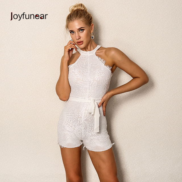 625c2fabd404 women lace short rompers jumpsuits with belt 2016 summer sexy sleeveless  white playsuit jumpsuit romper macacao feminino