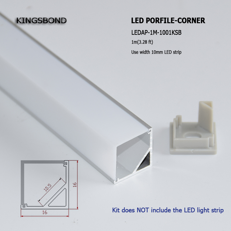 20pcs 1M square corner aluminum LED profile LED strip profile led aluminium housing for counter led bar light