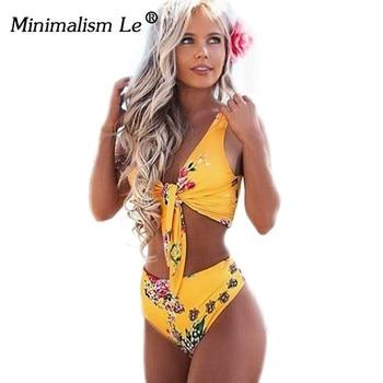 Minimalism Le High Waist 2019 Sexy Bikinis Print Swimsuit Women Bandage Floral Bikini Sets Backless Beach Wear Swimwear