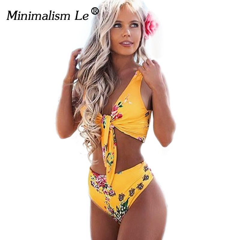 Minimalism Le High Waist 2019 Sexy Bikinis Print Swimsuit Women Bandage Floral Bikini Sets Backless Beach Wear Swimwear