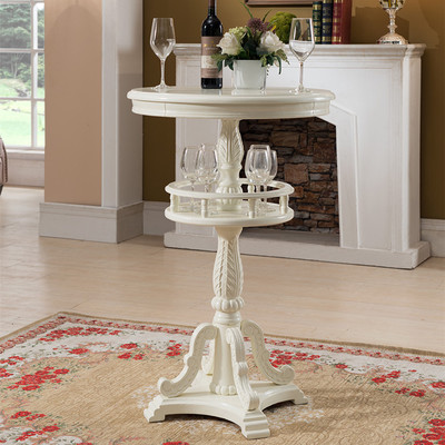 European style solid wood bar table American style carved bar table home round bar counter retro leisure cafes against the wall bar table home high bar table long solid wood metal bar table