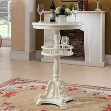 European style solid wood bar table  American carved home round counter