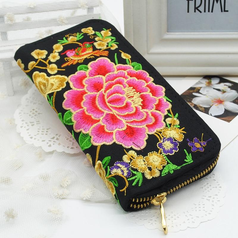 Embroidered Wallet Purse Flower Women Phone-Handbag Handmade Fashion Long New