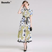 Banulin New Elegant Animals Floral Print Short Sleeve Dresses 2019 Runway Designer Women Summer Robe Femme Vestidos Dress B6217
