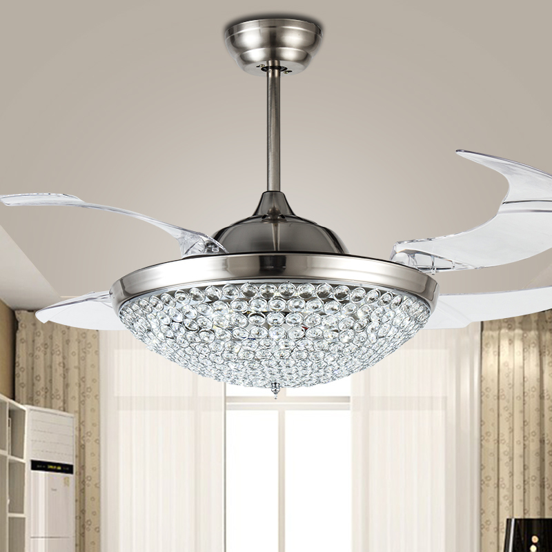 42 Inch Modern Led Ceiling Crystal Chandelier Fan Bedroom Living Dining Room Folding Lights With