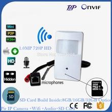 Аудио и видео CCTV P2P Onvif 720 P IP Пинхол WI-FI скрытой Камера HD ПИР Стиль детектор движения IP беспроводной Камера с слот для карты SD