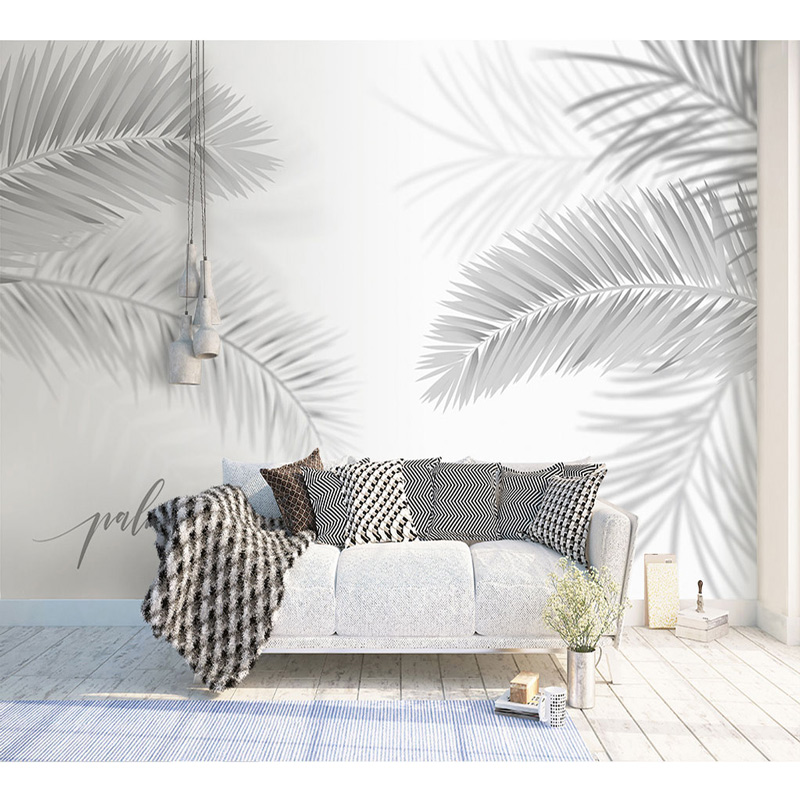 Custom Wallpaper Mural Black and White Sketch Tropical Rainforest