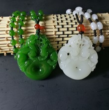 New Fashion White Green Jades Pendant Handmade Carved Pixiu Lucky Peace Buckle Women Men's Amulet Jewelry Pendant+Beads Necklace green stone boutique burma pixiu pendant jewelry gift 1