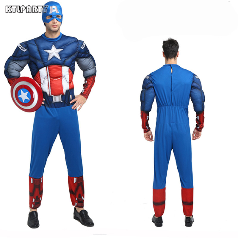 Adult men America captain muscle costume with plastic shield cospaly party halloween costume Avenger hero clothing clothes