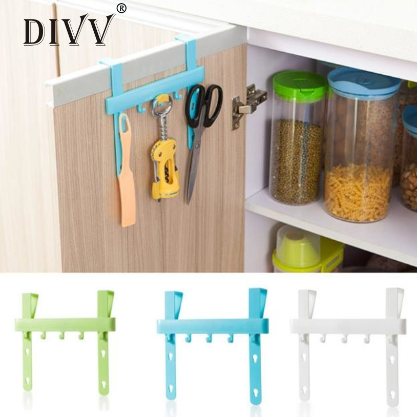 Divv Organizer Blue Hanging Cupboard Door Over The Kitchen Cabinet Back Style Stand Trash Garbage Bags Storage Holder Rack Hook