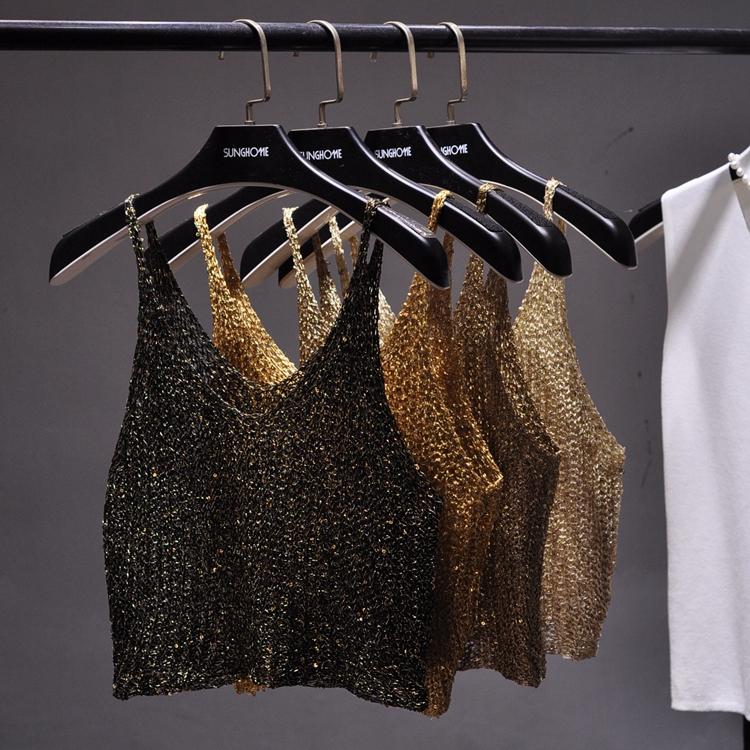 904b9f94a481c 2017 Summer sleeveless V neck bling bling knitted camis women sexy metallic  gold crop tops women Shiny Silver Camisole tops-in Camis from Women s  Clothing ...