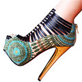 Sexy Ladies Summer Boots Straps High Heels Shoes Woman Back Zip Women Platform Pumps Wedding Dress Shoe Stiletto Zapatos Mujer