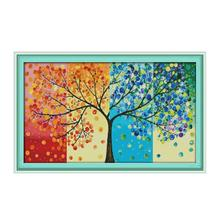 Four Seasons Fortune Tree 11CT 14CT Printed Fabric Sewing Embroidery Cross Stitch Kit Dramatic Furniture Decoration