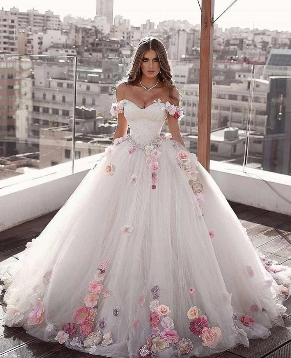 Księżniczka suknia balowa suknia ślubna Abaric dubaj Off the Shoulder Sweetheart 3D kwiaty Plus rozmiar Vestidos De Novia suknie ślubne