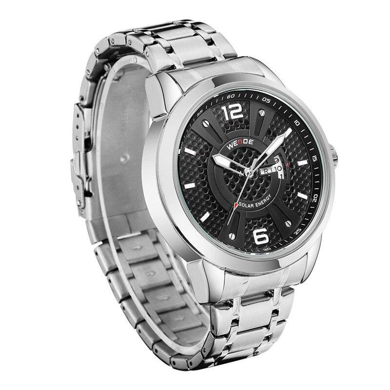 WEIDE Solar Men Steel Watch Fashion Business Sports Watches Men's Quartz LED Clock Man Army Military Wristwatches 30M Waterproof цена