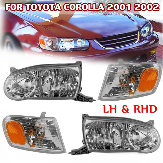 Rhd Lhd Headlight Chrome Crystal Right Left Side Corner Light For Toyota Corolla 2001 2002