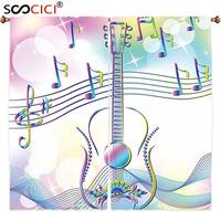 Window Curtains Treatments 2 Panels Music Decor Abstract Image Backdrop With Guitar Notes Star Beam Like