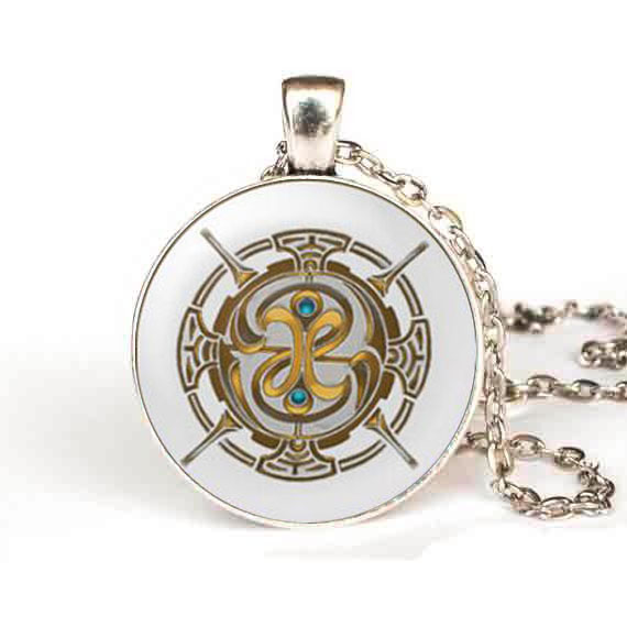 steampunk 1pcs/lot Fable Pendant Necklace Game Gamer Gaming Glass Fable Jewelry Glass Dome Pendant Necklaces toy chain 4 color