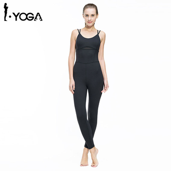 Yoga Jumpsuit Gym Running Sports Suit Lady Tight Clothing Breathable Quick Dry Sportswear Sets Patchwork Tracksuit
