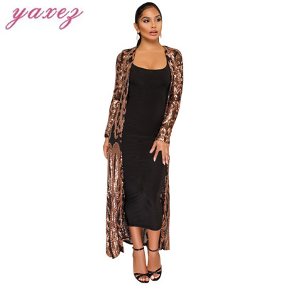 f5094a0ec89 Elegant Sequin Maxi Long Dresses Cardigan Evening Party Sexy Mesh See  Through Dress Spring Autumn Long Sleeve Women Dresses-in Dresses from  Women s Clothing ...