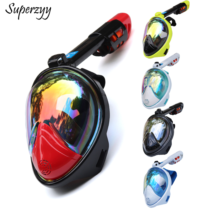 Diving Mask Underwater Scuba Anti Fog Full Face Diving Mask Snorkeling Set with Anti-skid Ring Snorkel 2018 New Arrival image