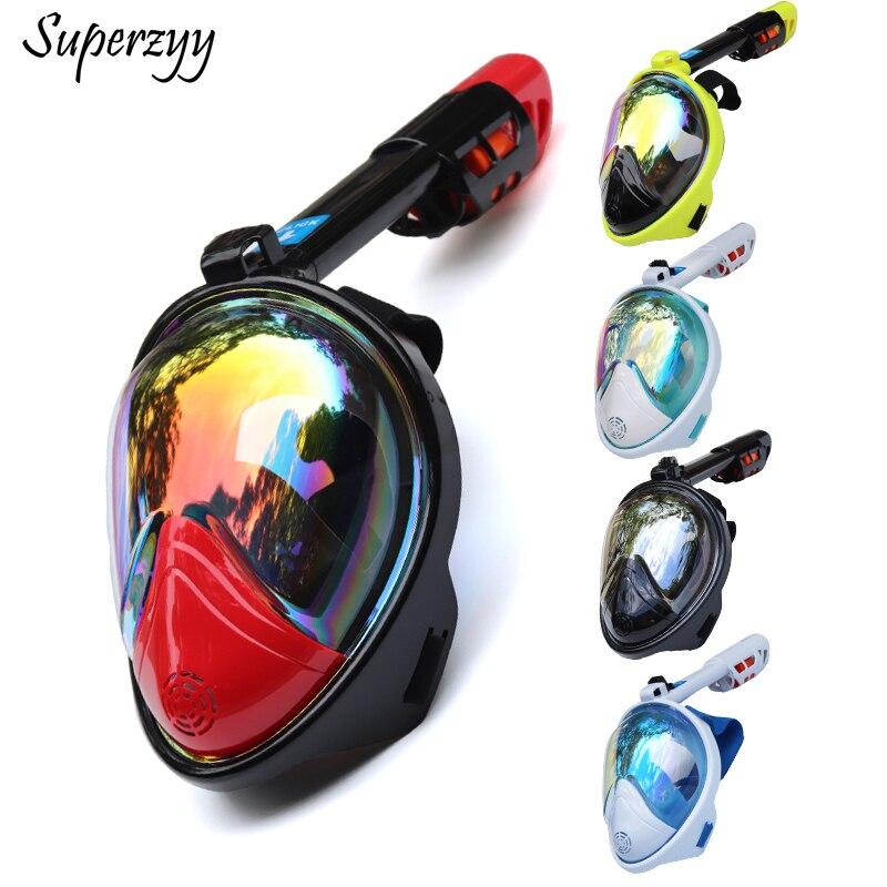 Máscara de mergulho submarino scuba, anti-embaçante, máscara de rosto inteiro, conjunto de mergulho com anel, antiderrapante, snorkel 2018 chegada na chegada