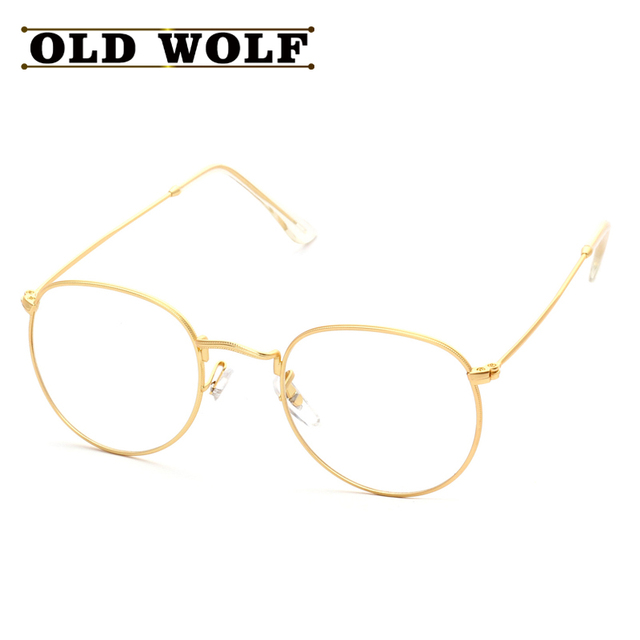 603c3be54a OLD WOLF Eye Glasses Frame Retro Full Rim Gold Eyeglass Frame Vintage  Spectacles Women Men Round Computer Glasses Unisex oculos
