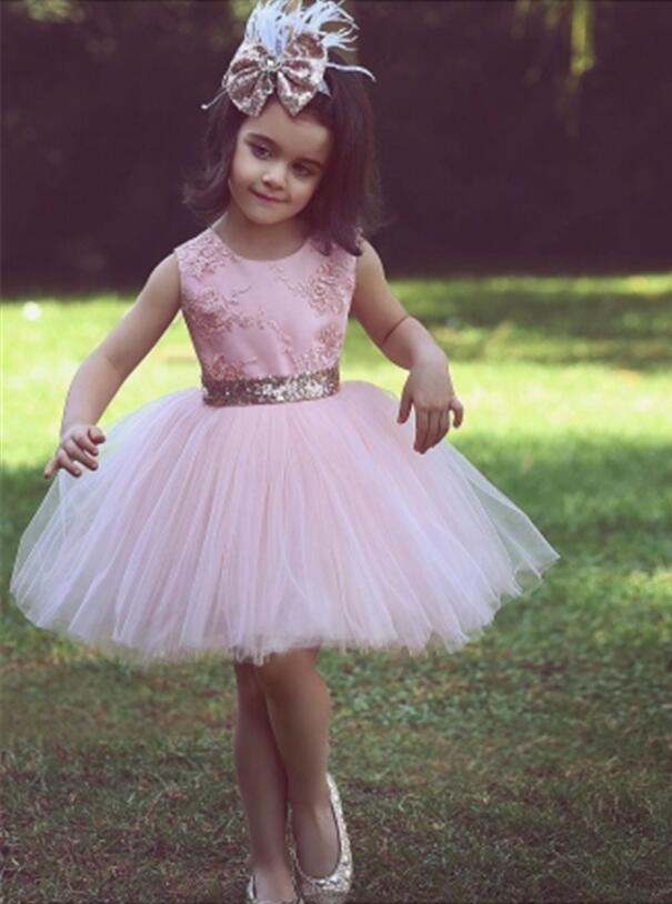Pink 2019   Flower     Girl     Dresses   For Weddings A-line Cap Sleeves Knee Length Lace Bow First Communion   Dresses   For Little   Girls
