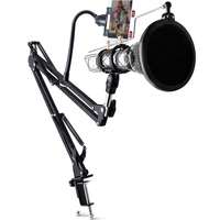 Apleok 3 In 1 Extendable Recording Microphone Stand Microphone Pop Filter Phone Clip For PC Phone