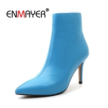 ENMAYER Women Genuine Leather Boots Thin heels Autumn Winter Fashion Shoes women Ankle boots Pointed toe Zipper CR1412