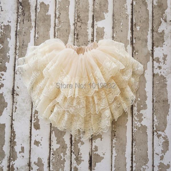 [ Clearance ] Adorable Baby Girl Lace Tutu Skirt,Flower Girl Ivory Skirt,Three Layers Pettiskirt,Skirt