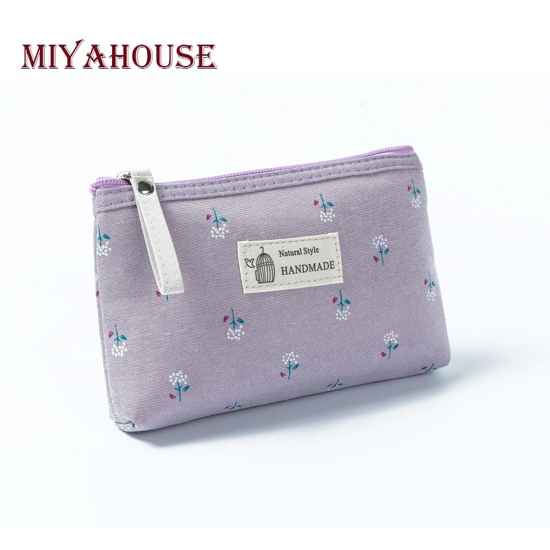 Miyahouse Cosmetic-Bag Canvas Make-Up Floral-Printed Zipper Small Travel Women Female
