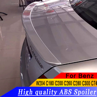 For Benz W204 C180 C200 C260 C280 C300 C74 Spoiler ABS Material Car Rear Wing Primer Color Rear Spoiler For Benz W204 Spoiler