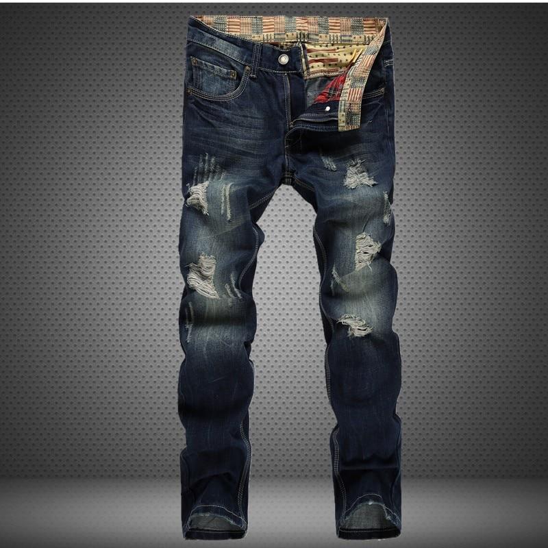 Mens Slim Skinny Biker Jeans Straight Holes Hip Hop Destroyed Jeans Men's Distressed Denim Ripped Jeans For Men Casual Jeans