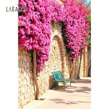 Laeacco Photo Backdrops Town Old Stone Wall Street Spring Blossom Flowers Scenic Photography Backgrounds Photocall Studio