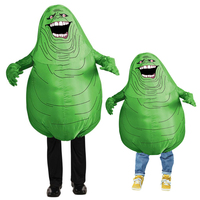 Movie Ghostbusters Cosplay Costume Inflatable Green Slimer Ghost Costume for Kids Adults Halloween Personality Funny Costume