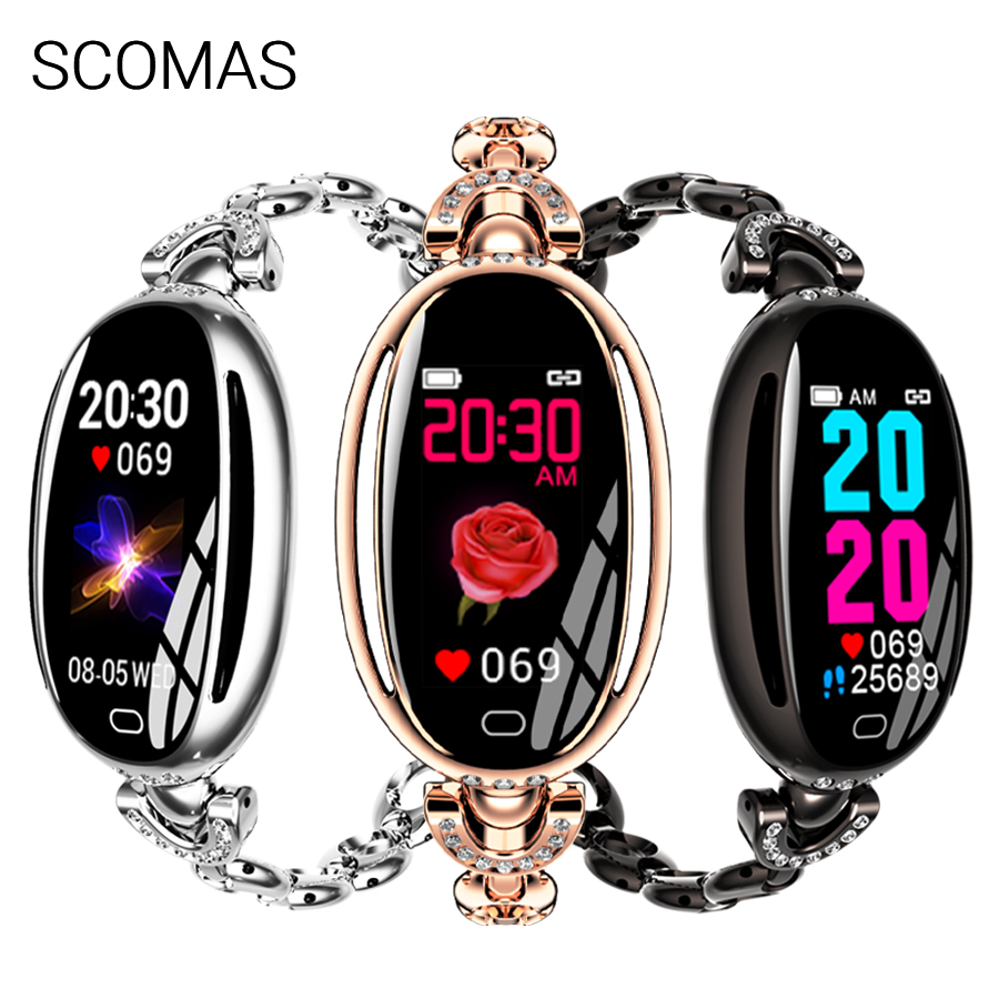 SCOMAS Fashion Women Smart Watch SE68 0 96 IPS Heart Rate Blood Pressure Monitor Fitness Tracker