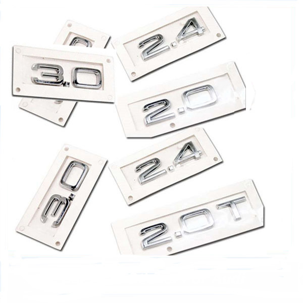 Серебристый ABS 1,8 2,0 2,4 2,8 3,0 3,2 3,6 4,2 Автомобильная эмблема задний стикер для Audi SLINE A1 A3 A4 A5 A6 A7 Q3 Q5 Q7 TT RS