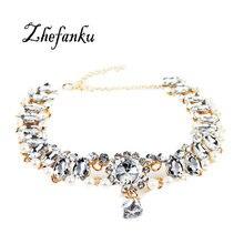 2017 New Fashion Boho Collar Choker Water Drop Crystal Necklaces Pendants For Women Charm Imitation Pearl